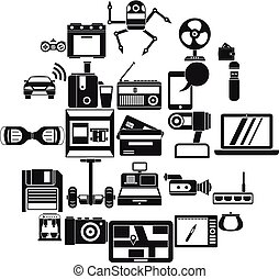 Camcorder buying icons set, simple style - Camcorder buying...
