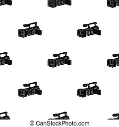 Camcorder icon in black style isolated on white background. Event service pattern stock vector illustration.