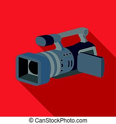 Camcorder icon in flat style isolated on white background.