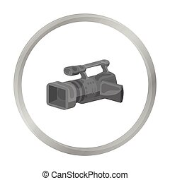 Camcorder icon in monochrome style isolated on white background. Event service symbol stock vector illustration.