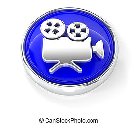 Camcorder icon on glossy blue round button