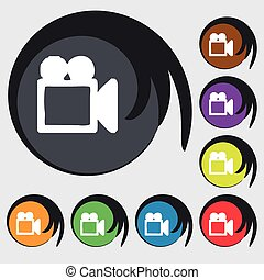camcorder icon sign. Symbol on eight colored buttons. Vector