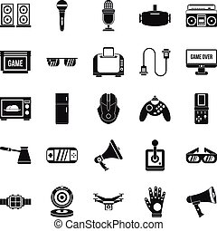 Camcorder icons set, simple style