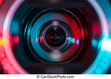 Close up shot of video camera optics