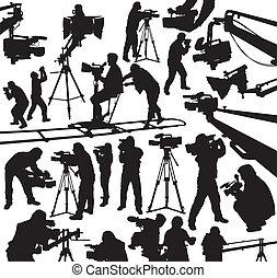 camcorder, und, kameramänner