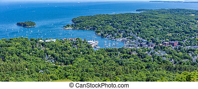 Camden Harbor from Mount Battie - A view of the harbor in...