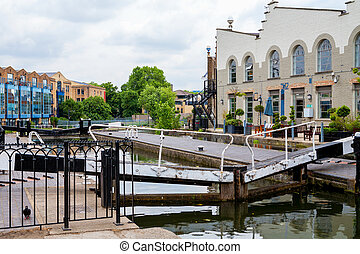 Camden Lock. Regents Canal, London, England - View of Camden...