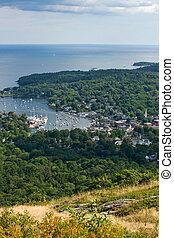 Camden, Maine - View of Camden harbor from the top of the...