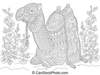 Camel and mallow flowers - Coloring page of camel sitting ...