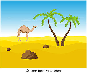 Camel and palms in the Desert, oasis illustration.