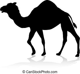 Camel Animal Silhouette - An animal silhouette of a camel