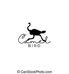 Camel Bird Logo Design Vector