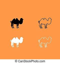 Camel black and white set icon .