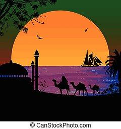 Camel caravan at green sunset on the beach