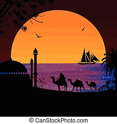 Camel caravan at red sunset on the beach