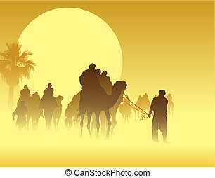 Camel caravan going through the sandstorm in the Sahara Desert, vector illustration.