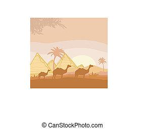 camel caravan in wild africa landscape illustration
