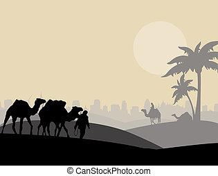 Camel caravan sillhouette - Camels and bedouin in arabic...