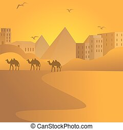 camel caravan travel in desert with pyramids of Egypt at background Arab building