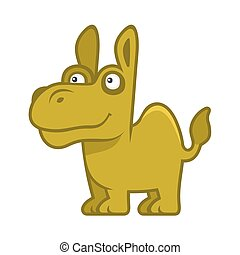 Camel. Cartoon Style Funny Animal on White Background. Vector