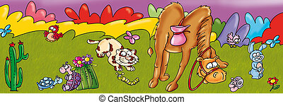 camel, cat, animals, turtle, grass,