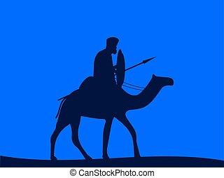 Camel cavalry. Armed rider on a camel. Vector illustration