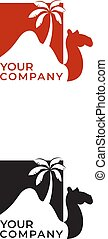 Camel desert and palm logo design and negative space with lettering
