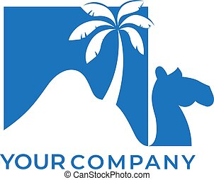 Camel desert with palm logo design and negative space