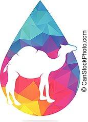 Camel drop shape concept logo design