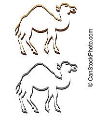 camel emblem logotype silhouette vector illustration isolated on white background