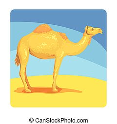 Camel Famous Touristic Attraction Of United Arab Emirates. Traditional Tourism Symbol Of Arabic Country