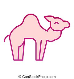 Camel flat icon. Desert caravan animal silhouette. Animals vector design concept, gradient style pictogram on white background, graphic for web or app.