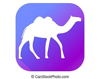 Camel flat icon with long shadow. Pictogram gradient color. Vector illustration