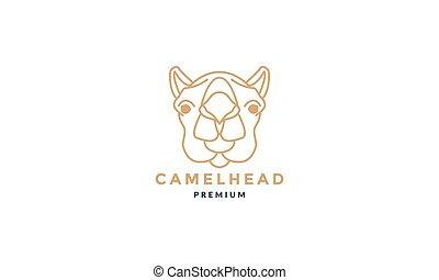 Camel head face line art outline unique logo vector  illustration design