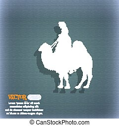 Camel icon. On the blue-green abstract background with shadow and space for your text. Vector