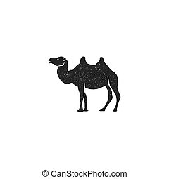 Camel icon silhouette design. Wild animal symbol and element isolated on white background. Vintage hand drawn animal pictogram with distressed effect. Stock vector illustration