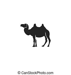 Camel icon silhouette design. Wild animal symbol and element isolated on white background. Vintage hand hand animal pictogram. Stock vector illustration