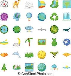 Camel icons set, cartoon style