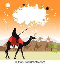 Camel in desert, frame with place for your text