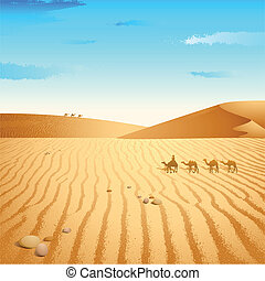 Camel in Desert - illustration of group of camel walking in...