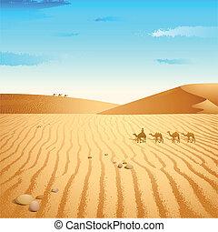 illustration of group of camel walking in desert