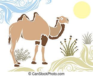 Camel in desert stencil