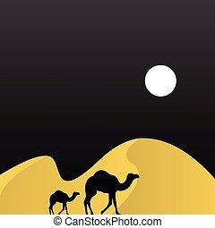 camel in desert with moon illustration logo