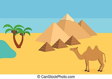 Camel in Sahara desert with the pyramids and palm trees