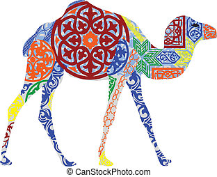 camel in the Arab ornament - silhouette of a camel in the...