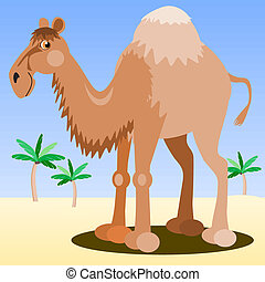 Illustration of a cartoon camel in the desert.