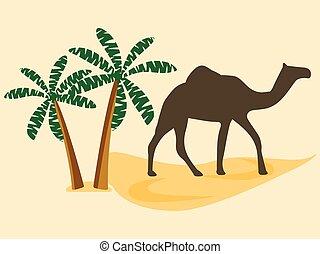 Camel in the desert, palm trees. Vector illustration.