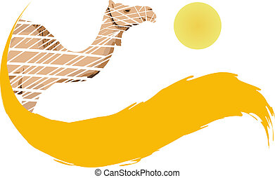 Camel in the desert, vector