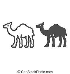 Camel line and solid icon, worldwildlife concept, camel vector sign on white background, camel outline style for mobile concept and web design. Vector graphics.