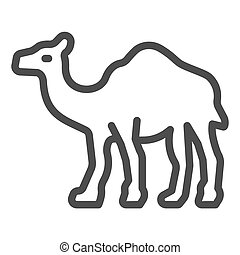 Camel line icon, worldwildlife concept, camel vector sign on white background, camel outline style for mobile concept and web design. Vector graphics.